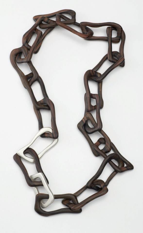Necklace.  Sterling silver and ebony wood chain necklace. Hand made by Jenny Greco