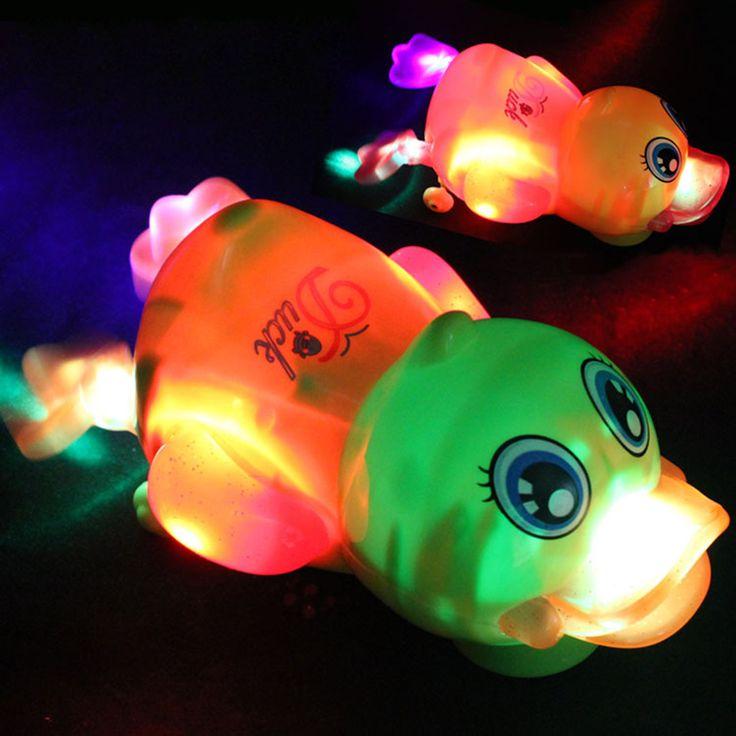 Музыка И Свет Сверкающих Интересно Утка Игрушка В Желто-Зеленый Цвет Для Ползающих Младенцев, Чтобы Преследовать