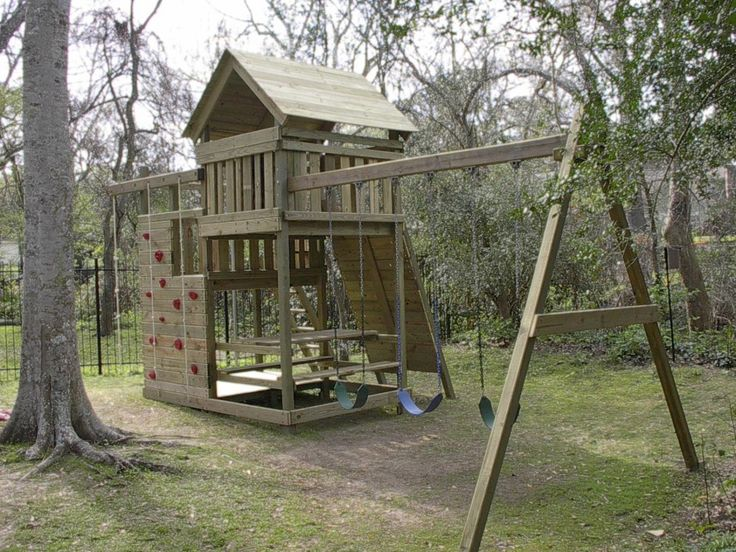 Best 25 outdoor playset ideas on pinterest kids playset for Wooden swing set plans