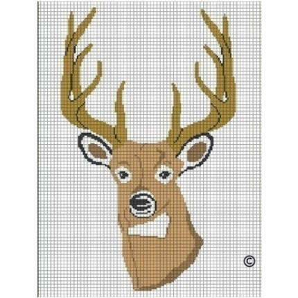 Buy DEER BUCK HEAD STAG HORN CROCHET AFGHAN CROSS STITCH PATTERN GRAPH CHART