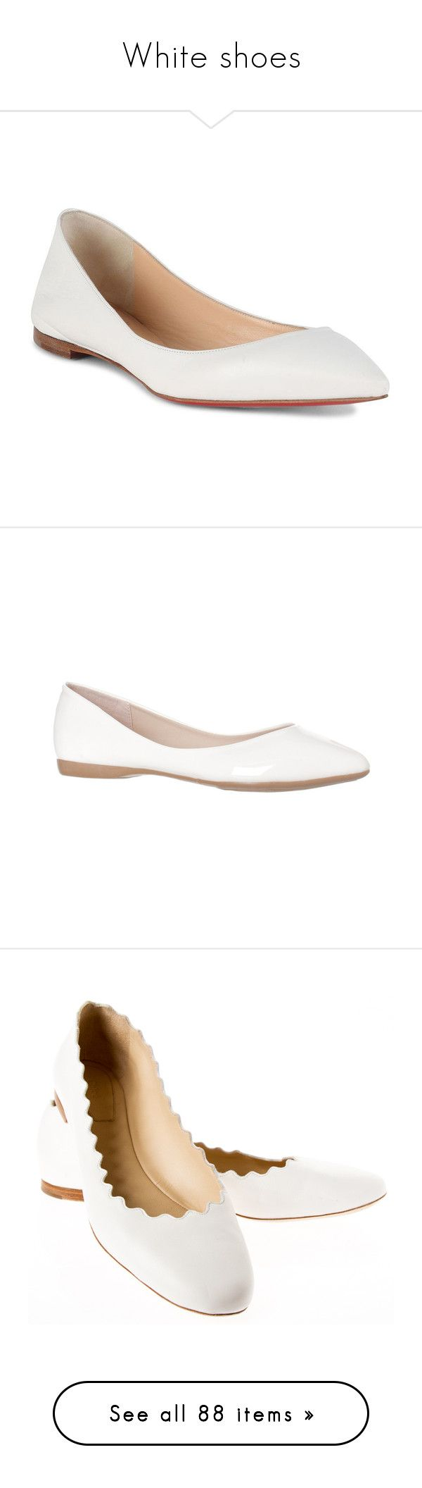 """White shoes"" by domino-80 ❤ liked on Polyvore featuring shoes, flats, wide width flats, black leather flats, black pointy toe flats, leather flats, black shoes, pointy toe ballet flats, red ballet flats and white ballet flats"