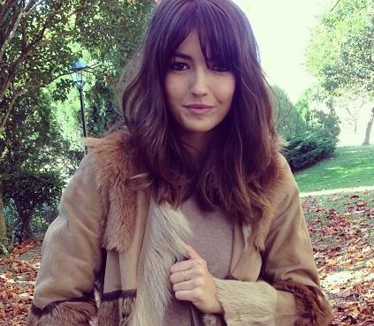 Cut / length / messy blown-straight style / fringe bangs barely angled-sides & barely layered blunt cut slightly overgrown lob / perfect color (s)ombré/balayage