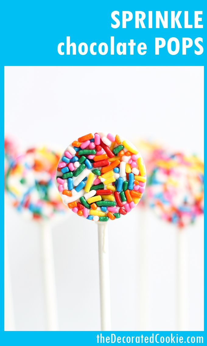 These easy sprinkle chocolate pops are a perfect fun food idea for birthday, unicorn, or rainbow parties. Or, for birthday party favors. Video how-tos. #chocolatepops #lollipops #sprinkles #birthday #partyfavors