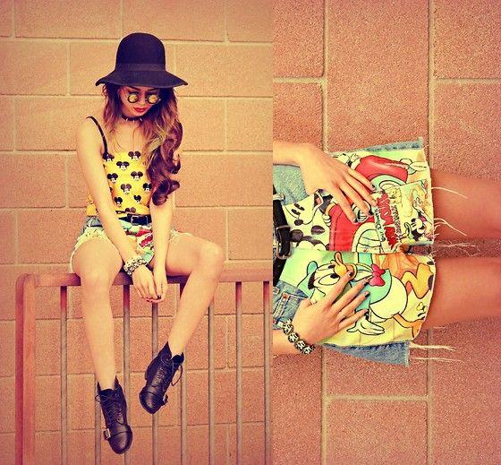 Hat, Sunglasses, Choker, Yellow Mickey Mouse Top, Shorts, White Skull Bracelet, Black Skull Bracelet, Boots