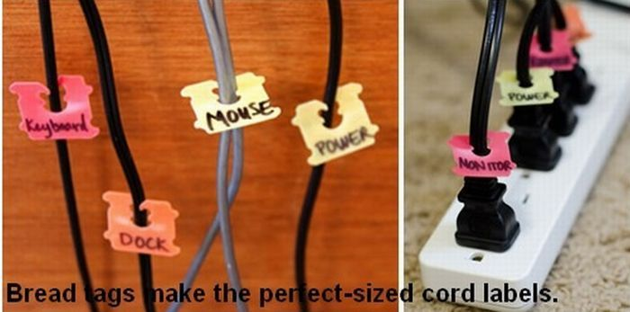 Bread tags make the perfect-sized cord labels....love this idea