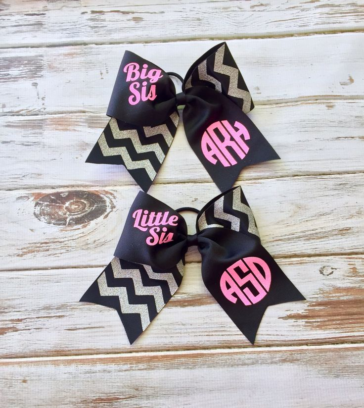 Glitter Monogrammed Big Sis Little Sis Cheer Bow, Monogrammed Gifts for Cheerleaders by PoshPrincessBows1 on Etsy