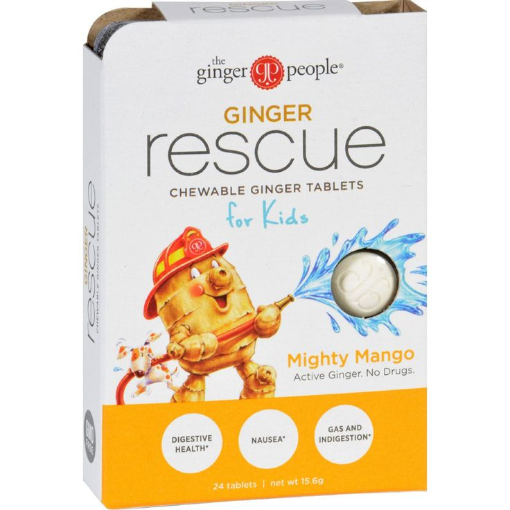 """Ginger People Ginger Rescue for Kids - Mighty Mango - 24 Chewable Tablets - Case of 10 - A fruity drug-free chewable ginger tablet with Ginger Actives to help promote digestive health, relieve motion sickness and ease gas and indigestion. The tasty fruit flavor is kid-friendly with just enough ginger spice to warm tender tummies - """"The Tingling Tummy Tamer"""". Organic: NA Gluten Free: Gluten Free Dairy Free: No Yeast Free: Yes Wheat Free: Yes Vegan: No Kosher: No GMO Free: NA Summer Melt Ris"""