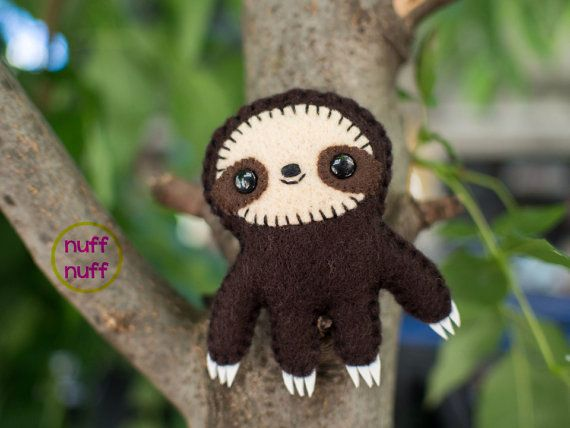 3.5 inch Felt Sloth  Pocket Plush toy by nuffnufftoys on Etsy