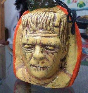 Frankenstein pumpkin figurine Halloween tree decoration