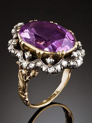 Blingy antique large amethyst and diamond ring