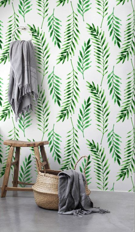 Fern leaves wallpaper Leaves pattern Tropical wall von BohoWalls