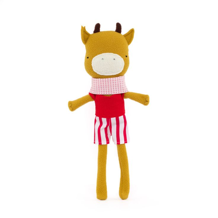 Long-legged Cow in Striped Shorts by Silly Dolls Canada