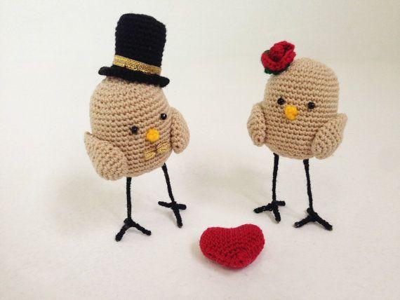 Wedding Cake Toppers - Bird Wedding Cake Topper - oiseau Cake Topper - Wedding Cake Topper - Bride and Groom Cake Topper - Crochet Cake Topper