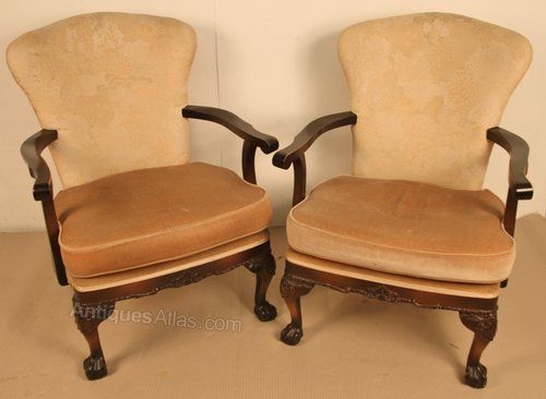 Pair of Chippendale Style Upholstered Armchairs. Antique ArmchairsLounge  FurnitureOccasional ... - 65 Best Antique Lounge Furniture Chaise Sofa's Arm Chairs Images On