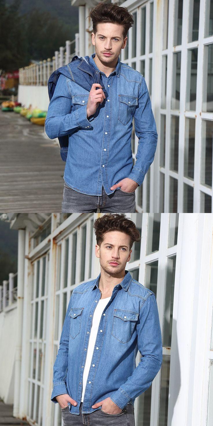 2016 New Arrival Autumn 100% Cotton Denim Shirt Men Long Sleeve Shirts men brand jeans shirt mens camisa masculina Free Shipping