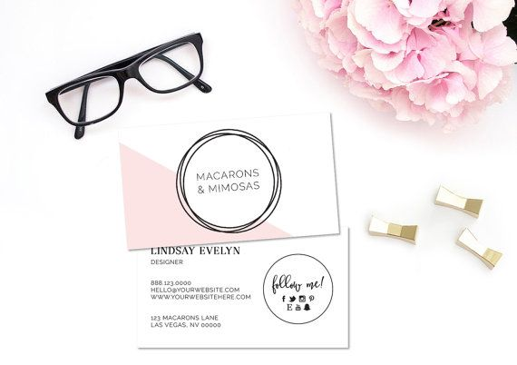 Circle Triangle • Blush Pink Black • Modern Boutique Business Cards Pre made Calling Card • Blogger Photographer