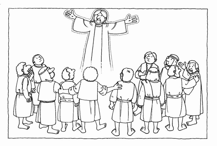 Jesus Ascending To Heaven Coloring Page