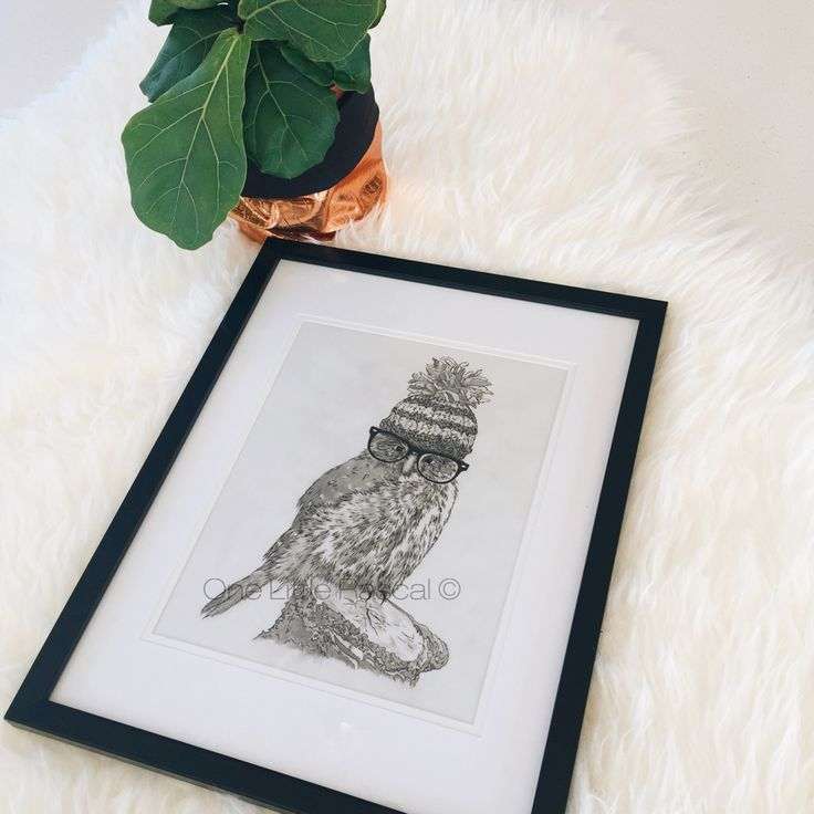 OneLittleRascal - ✖ FUNKY OWL ✖ Coloured pencil drawing.  Limited edition prints. Individually signed and numbered.  Available for purchase in a range of sizes as a Giclée Fine Art print.