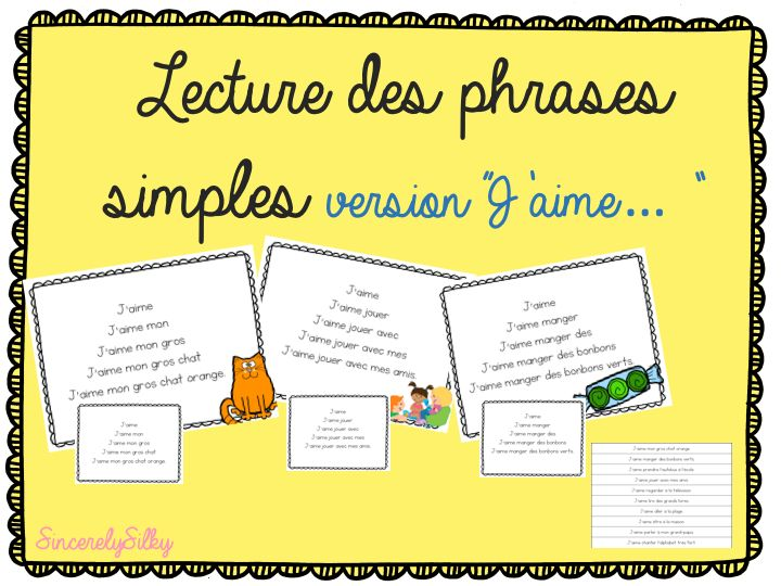 """Task cards with simple french sentences starting with """"J'aime..."""" - Phrases simples avec """"J'aime..."""" first grade french reading"""