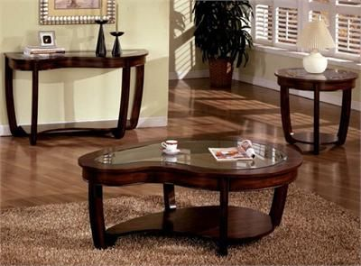 crystal falls abnormity glass dark cherry coffee table