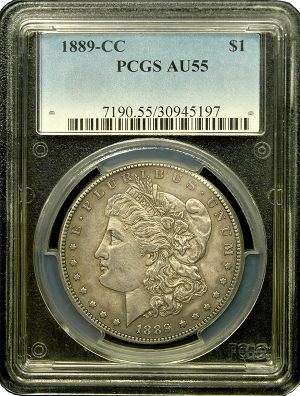 1889 CC Morgan Silver Dollar PCGS AU 55 ---- Key date rarity in the Morgan series and without a doubt the most sought after Carson City Dollar. The coin has amazing and original toning with killer eye appeal for the grade. This coin becomes much more expensive in higher grades than this.  http://www.austincoins.com/1889-cc-morgan-silver-dollar-pcgs-au-55.html