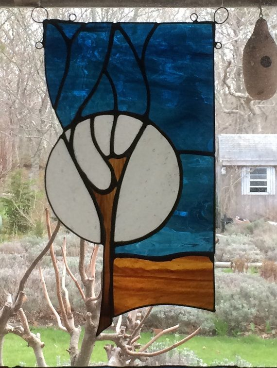 Full Moon Stained Glass Sun Catcher by ForgingAheadMetal on Etsy, $85.00