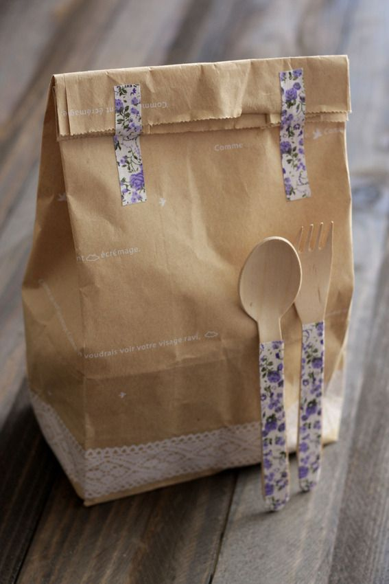 Picnic Lunch | brown paper bag and utensils decorated with washi tape