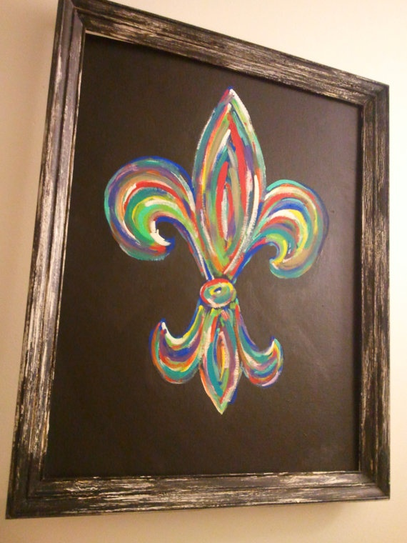 Colorful fleur de lis painting · diy artworkflur de lis tattoocollaborative artcanvas
