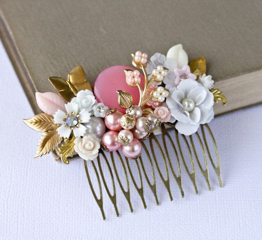 FREE SHIP Pink Wedding Hair Comb - Bridal Hair Comb, Bridesmaid Gift, Shabby Chic Hair Comb, Vintage Hair Piece, Romantic Gold Collage Comb. $92.00, via Etsy.