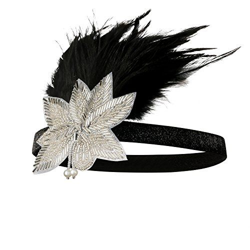 Cougars Choice Flapper Headband 1920s Headpiece Black Rhinestone Pearl Headband for Women Black * To view further for this item, visit the image link.
