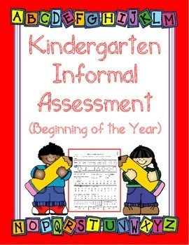 Informal Teacher Assessment for Kindergarten - FREEBIE