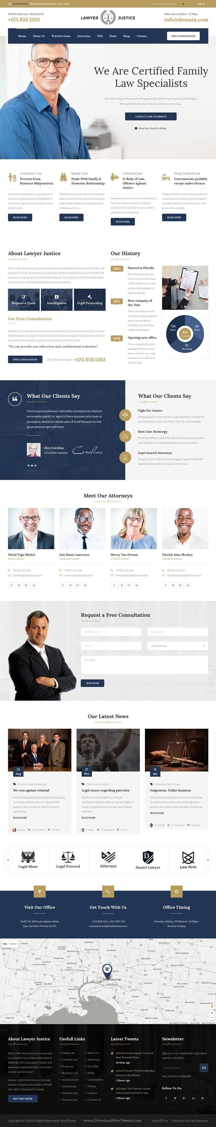 Lawyer Justice is beautiful Bootstrap template built for Legal Advisers, Lawyers, Attorneys, Counsels, Advocates and other legal and law related services website.  Chose WebsitesYES.com for your design needs.