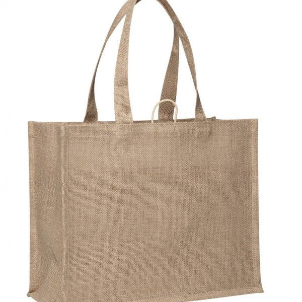 LAMINATED JUTE SUPERMARKET BAG – TB 0137 LJ  Price includes 1 color, 1 position print   2 Color imprint available for an additional charge