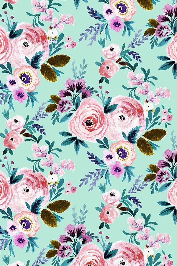 Victorian Floral Mint by crystal_walen - Hand painted rose and pink flowers on fabric, wallpaper, and gift wrap. Bold mint colored background with whimsical floral pattern in pink, olive, green, lavender, and mauve.