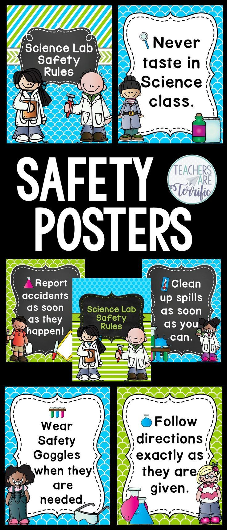 Science and STEM Safety Rules Posters! Includes two versions and title posters. This set features lime and turquoise decor.