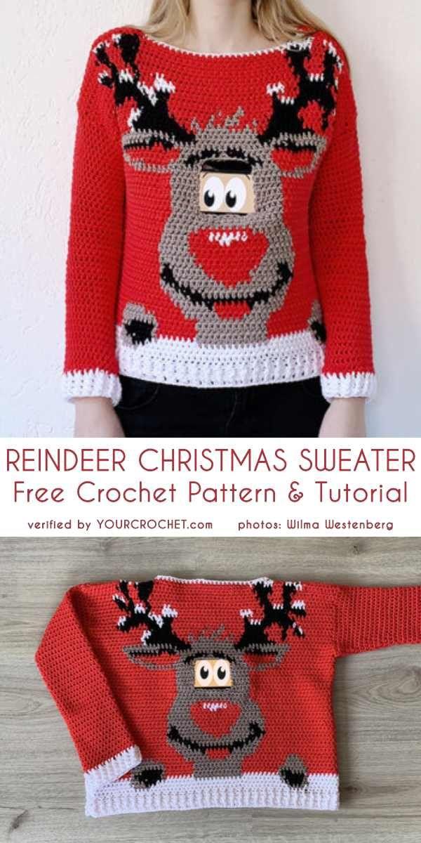 Digital Reindeer Christmas Sweater Free Pattern And Video Tutorial