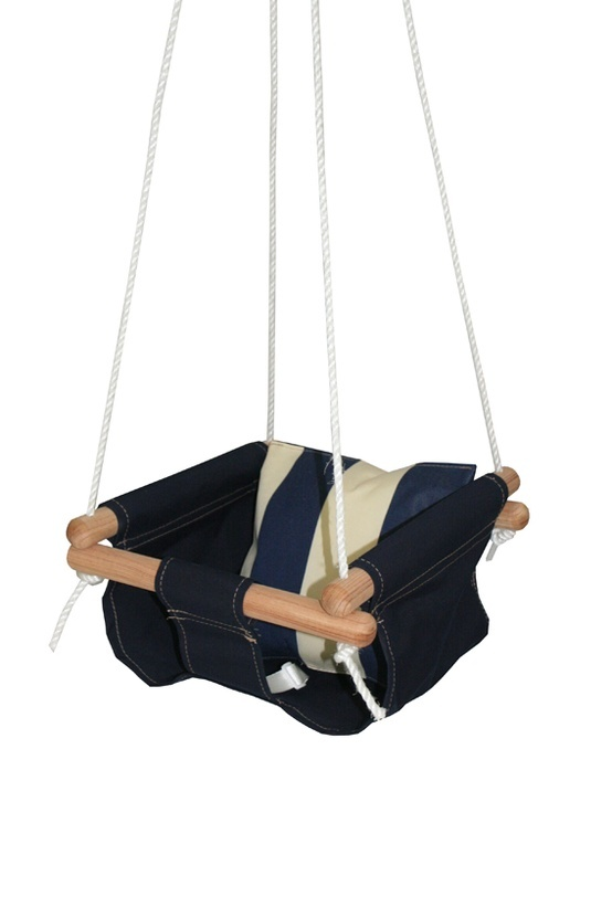 """diy baby swing with instructions       So I gathered up my supplies:  1 inch oak dowels  25 ft nylon/poly blend braided 5/16"""" rope  Steel rings  steel carabiner  rope crimps  about 1 yard of outdoor canvas  Some tools: sewing machine, hammer, pliers, saw, drill press  Sturdy tree branch"""
