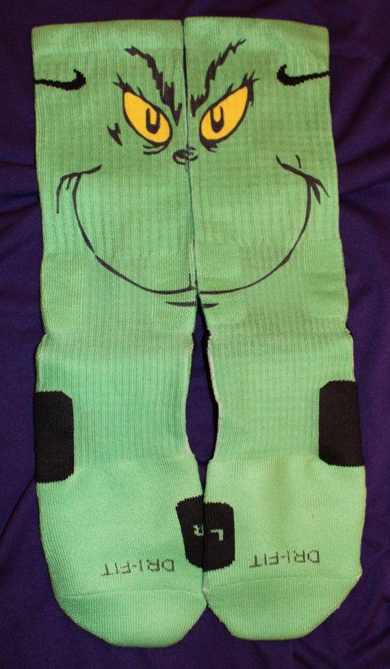 Grinch Inspired Authentic Custom Nike Elite Socks by LuxuryElites, $42.99