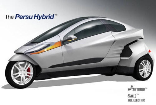 Meet the PEHV. Designed by Persu Mobility, it's powered by a hybrid power plant, the company's ULV or Urban Life Vehicle is rated at 75 miles per gallon (the actual figure is expected to be closer to 100mpg) with a top speed approaching 100mph, and at about four feet wide, it also can maneuver in traffic much like a motorcycle, while the enclosed cabin keeps the elements at bay. --Matt Kelly/The Examiner For more info:  Visit the company's website www.flytheroad.com