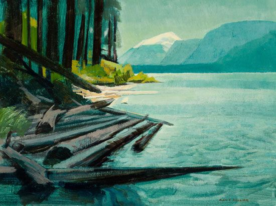 Alan Collier - Buttle Lake Shoreline Vancouver Island B.C. 12 x 16 Oil on board