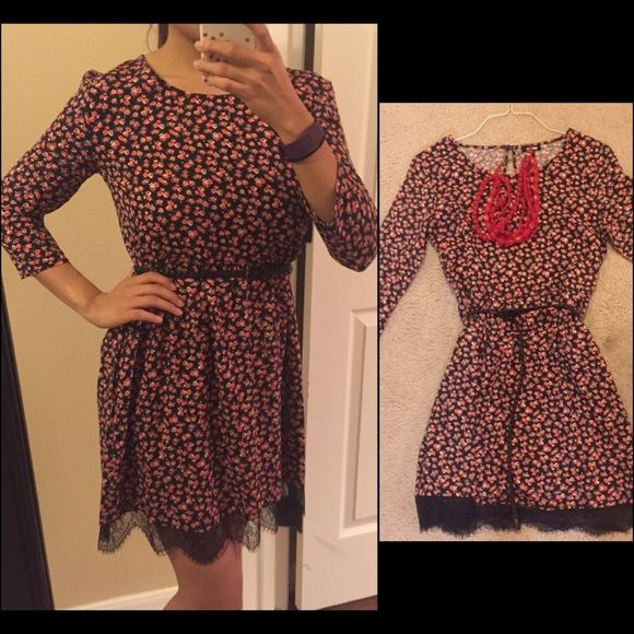 "NWOT Super cute Floral Dress with sleeves NWOT! Never been worn! This floral dress is so cute! It is a silky-cotton feel which makes it very light and airy. It features as scalloped edge lace bottom which adds just a little extra to the dress as a whole! It measures just at 34"" in total length, and the sleeves are about 16.75"" in length! Gorgeous dress to pair with flats or wedges! Dresses"