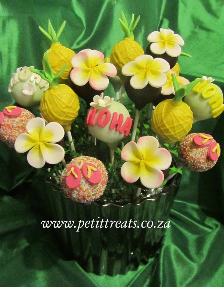 Hawaiian Themed Cake Pops - Display