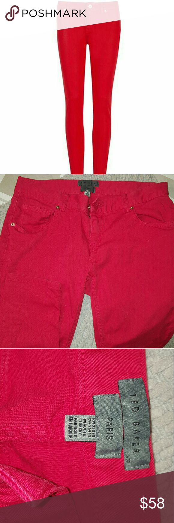 Ted Baker Red Cubba Skinny Jeans Ted Baker Women's Red Cubba Skinny Jeans  Barely warn. I don't fit in them anymore.   30 W 28 L Ted Baker Pants Skinny