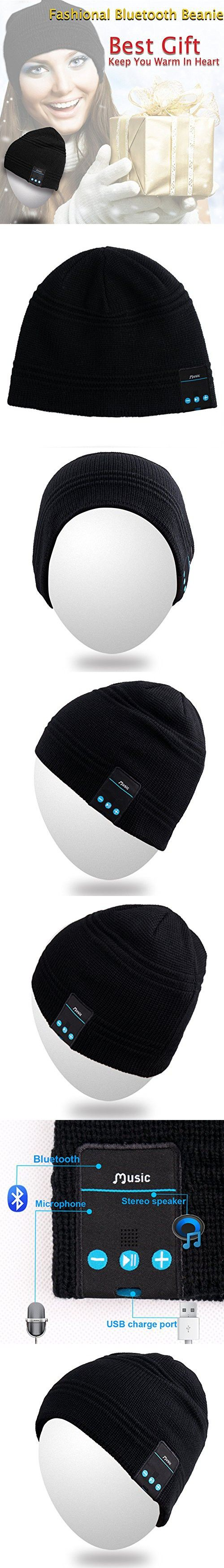 Qshell Wireless Bluetooth Headset Music Beanie Women Men Winter Knitted Hat Trendy Cap with Speaker & Noise Cancelling Mic for Running Sports,Compatible with Iphone Samsung,Best Christmas Gifts -Black