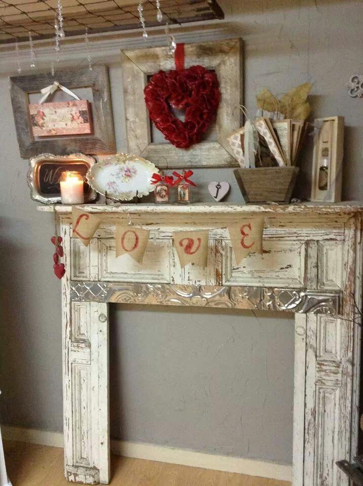 Valentines mantel...from Dumpster Diva Shop