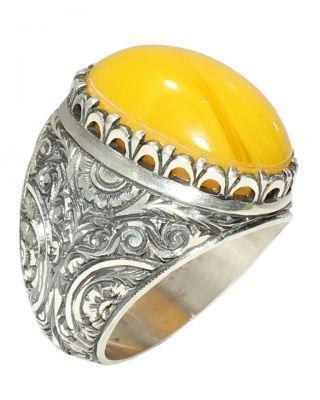 925 Ayar Gümüş Oval Kehribar Taşlı El Kalemli Yüzük