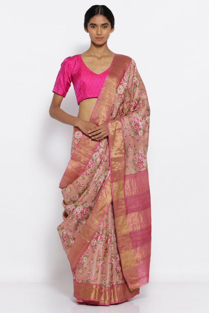 0f3dd76c67 Blush Pink Handloom Pure Tussar Silk Saree with All Over Floral Print and Woven  Zari Border