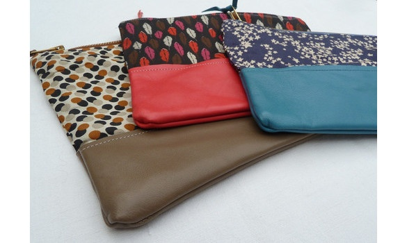 Grandes pochettes cuir et tissu - Large pouches leather and coton handmade