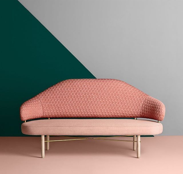 Sofa Simone by Sputnik Studio for Missana with textile TRIANGLE Blush on the…