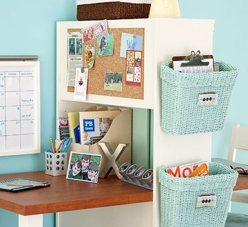 add bins to side of anything with 3M hooks...bathroom wall, dresser in child's room...endless places